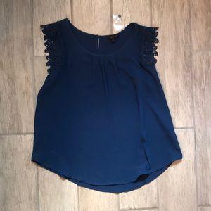 Dark blue lace cap sleeve blouse